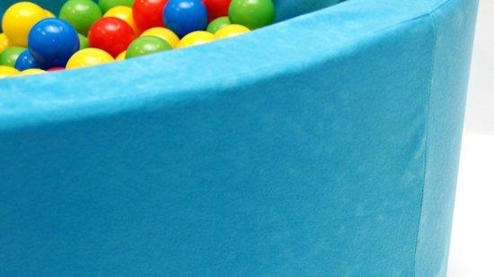 Ballenbak - stevige blauwe mozaïek ballenbad - 90 x 40 cm - 200 ballen Ø 7 cm - rood, groen, geel en blauw