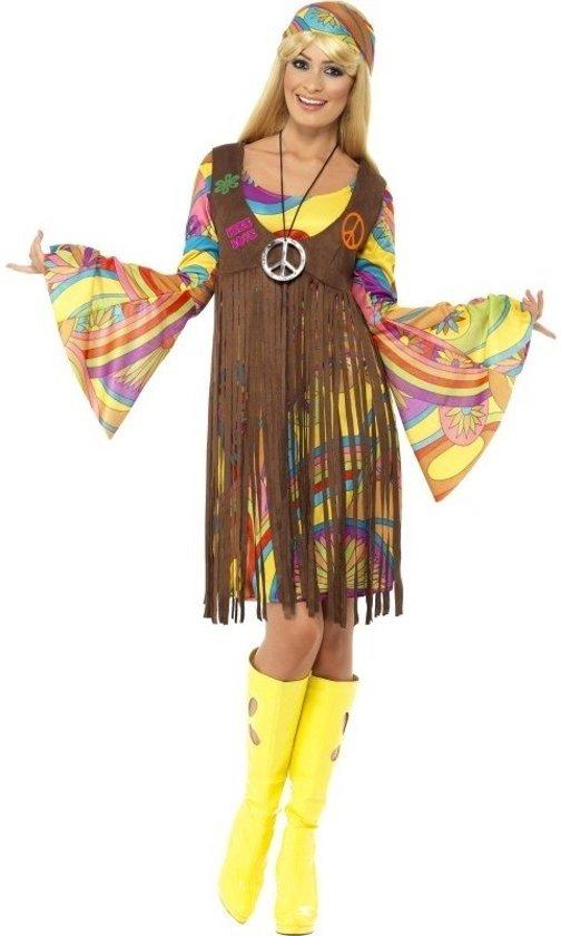Hippie flower power verkleed jurkje / kostuum met gilet voor dames 36-38 (S)
