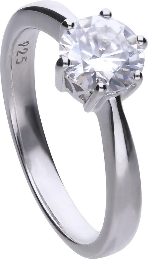 Diamonfire - Zilveren ring met steen Maat 19.5 - Steenmaat 7 mm - Chatonzetting