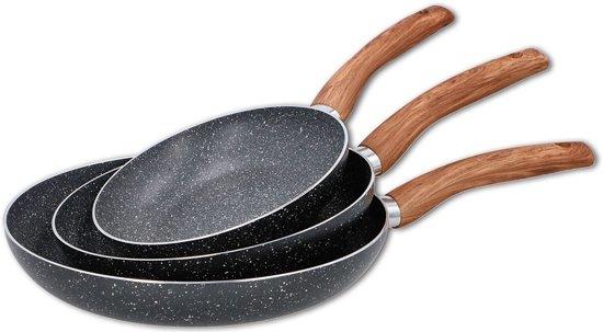 Koekenpanset - Keramische Anti-aanbaklaag - 3 delig - Ø 20, 24 en 28 cm - Vaatwasserbestendig Valentinaa