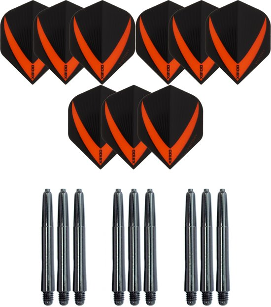 3 sets (9 stuks) Super Sterke – Oranje - Vista-X – darts flights – inclusief 3 sets (9 stuks) - medium - darts shafts