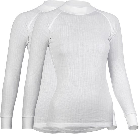Avento Thermoshirt Lange Mouw Dames - 2-Pack - Wit - Maat 40
