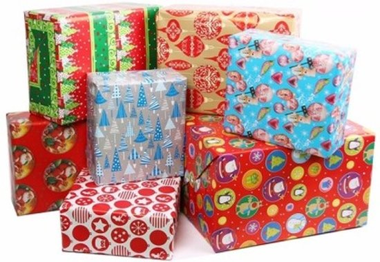 5x Kerst Kadopapierinpakpapier 200x 70 Cm Cadeaupapier