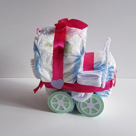 Luiertaart Wiegje Met Speenkoord Roze | Kraamcadeau | Kraampakket | Baby Cadeau