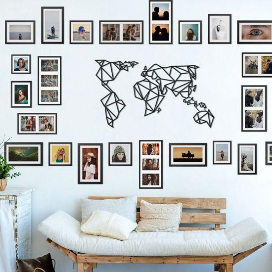 Wanddecoratie Wereldkaart Metaal.Bol Com Metalen Wereldkaart Zwart Wandpaneel 60x100 Cm