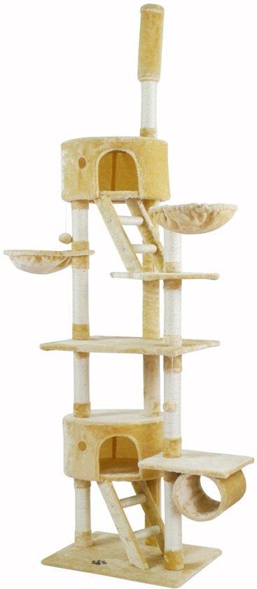 XXL Katten Krabpaal- Klimpaal Kattenhuis Groot - Hoge Krabmeubel - Grote Kattenpaal - Beige 255 CM