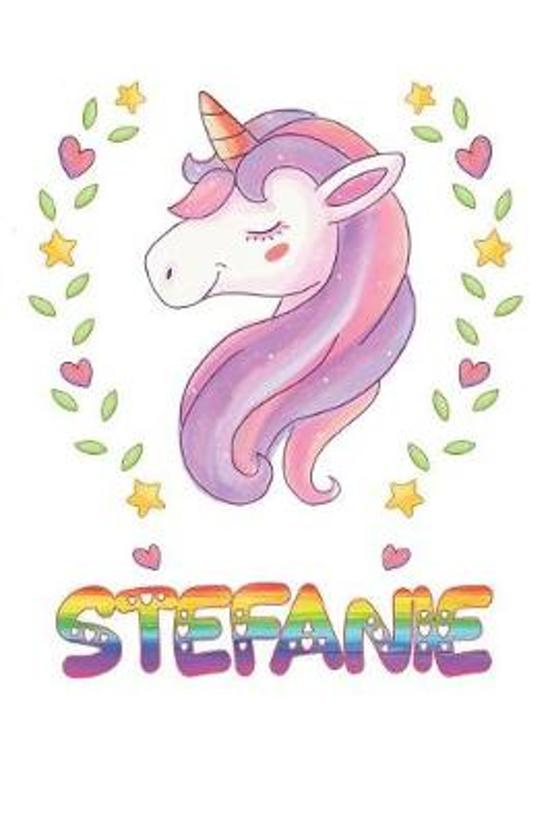 Stefanie: Stefanie Notebook Journal 6x9 Personalized Gift For Stefanie Unicorn Rainbow Colors Lined Paper