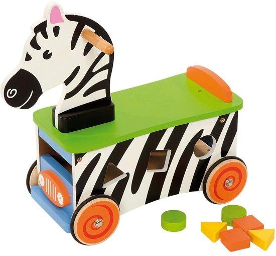 Houten Loop en Sorteerwagen Zebra