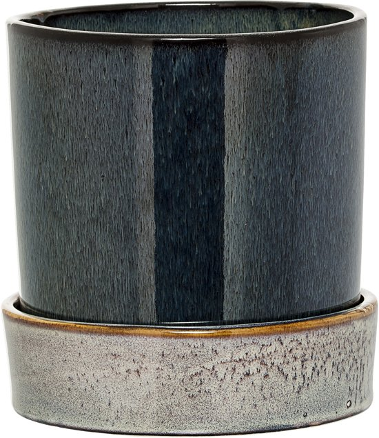 Bloomingville - Bloempot met Schotel - Stoneware - 14xH14 cm - Multi Color