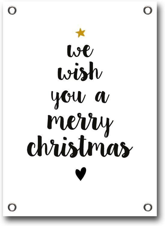 bijStip tuinposter kerst Merry Christmas wit 100x70cm