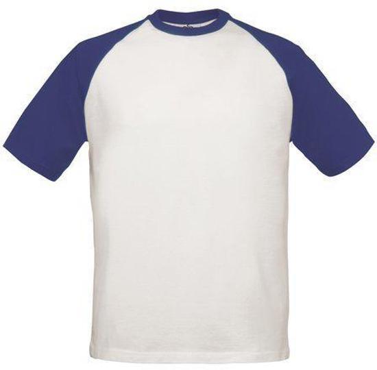 T-Shirt B&C Base-Ball Kleur White/Navy, Maat L