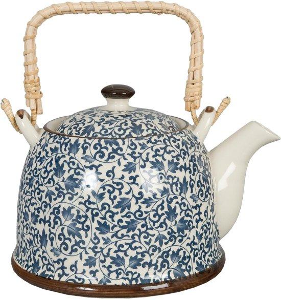 Clayre & Eef Theepot - 14 x 14 cm - keramiek - blauw
