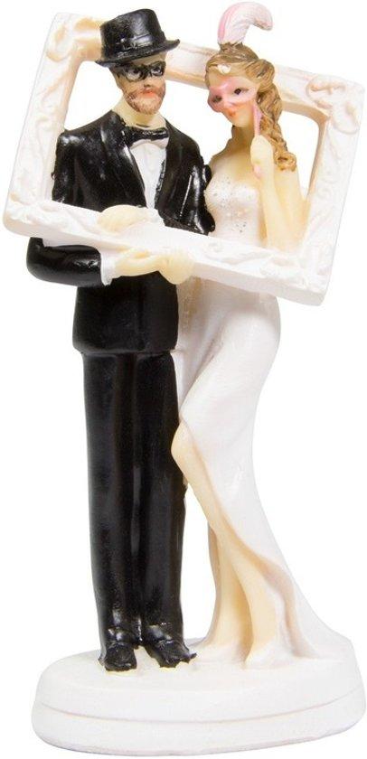 Bruidstaartdecoratie - 14 cm - bruiloft taarttopper figuurtjes Valentinaa