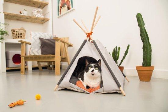 Beeztees Mohaki Tipi Tent Voor Katten - Grijs - 50 x 50 x 80 cm