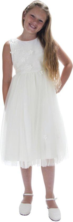 Jurk voor bruidsmeisjes ivoor met organza-110/116