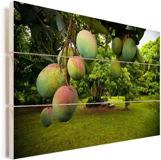 Mango's aan Vurenhout met planken 120x80 cm - Foto print op Hout (Wanddecoratie)