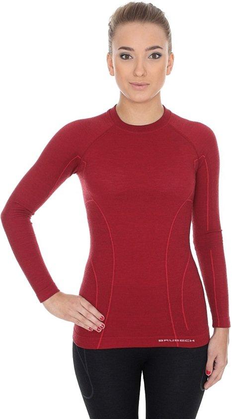 Lange s Seamless Wool shirt Dames Thermo Ondershirt Wol Brubeck Mouw Merino Active burgundy Met vB4xO8