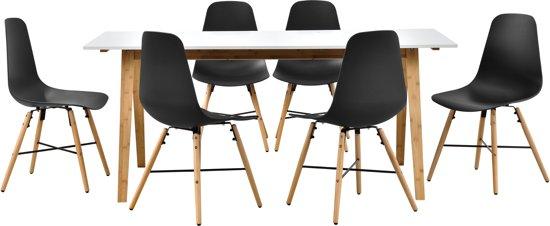 Eetkamer Set Met 6 Stoelen.Eetkamerset Bamboe Tafel Wit Met 6 Stoelen Zwart