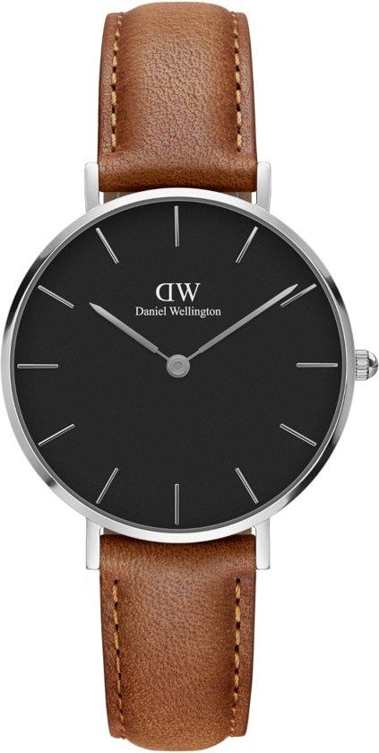 Daniel Wellington Classic Black Petite Durham DW00100178 - Horloge - Leer - Bruin - Ø 32mm