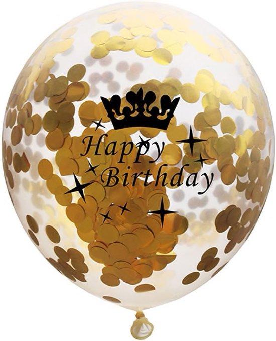 Set van 5 Confetti Ballonnen Happy Birthday Metallic Goud | 30 cm Valentinaa