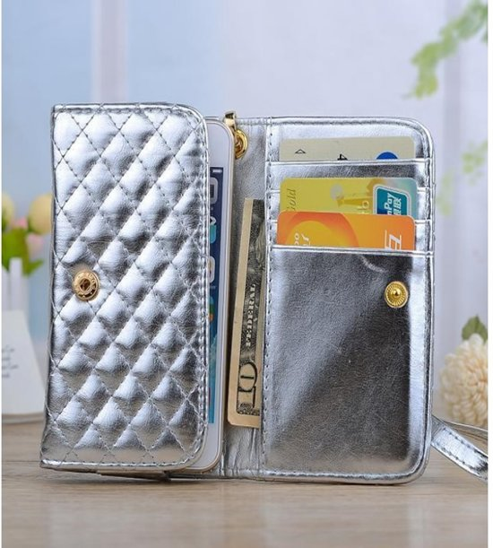 Luxe telefoon hand tasje (M) met gestikt ruit patroon, wallet hoesje met Chanel patroon, zilver , merk i12Cover