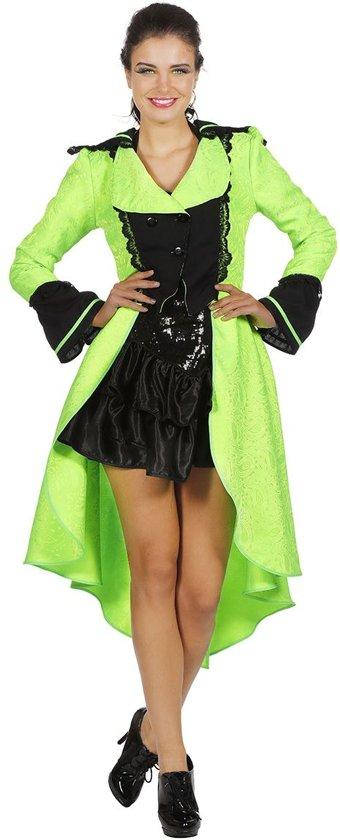 Circus Kostuum | Luxe Jas Livrei Neon Groen Vrouw | Maat 46 | Carnaval kostuum | Verkleedkleding