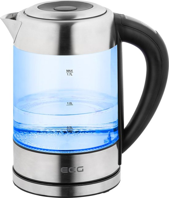 electro center rk 1777 glas met rvs waterkoker led verlichting en temperatuur instelling