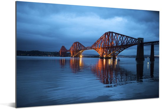 De Forth Bridge bij Fife in het Verenigd Koninkrijk Aluminium 120x80 cm - Foto print op Aluminium (metaal wanddecoratie)