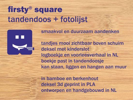 Houten Tandendoosje  - Bamboe Fotolijstje - Jongen Blauw - Firsty® - Delfts Ambachtelijk