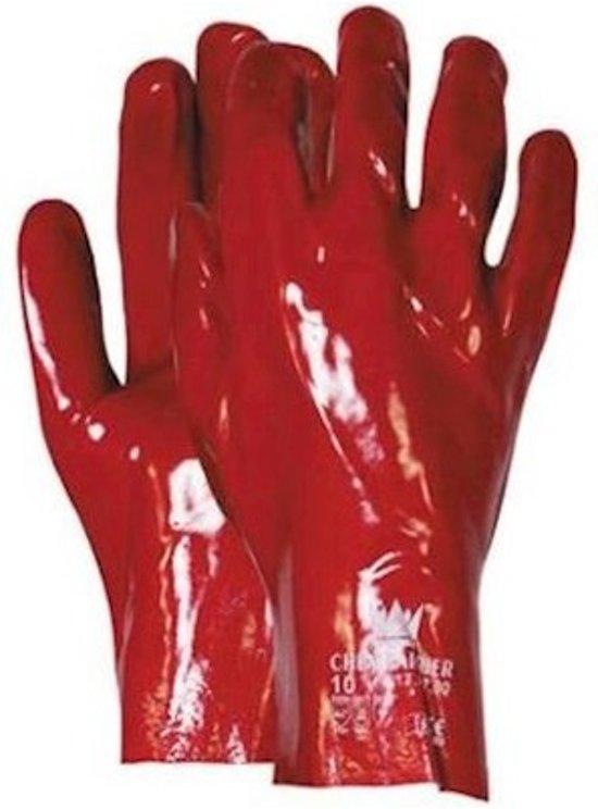 Handschoen PVC rood 27cm