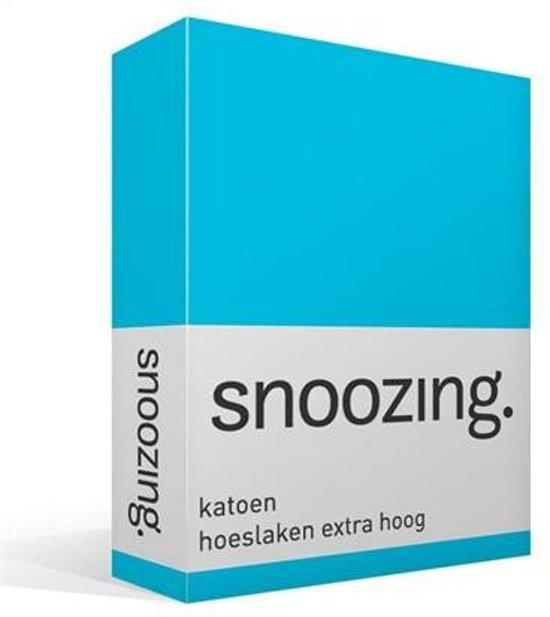 Snoozing - Katoen - Extra Hoog - Hoeslaken - Lits-jumeaux - 200x220 cm - Turquoise