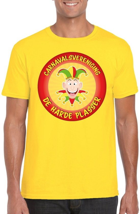 Carnavalsvereniging De Harde Plasser fun t-shirt heren geel - Limburg carnaval verkleedkleding 2XL