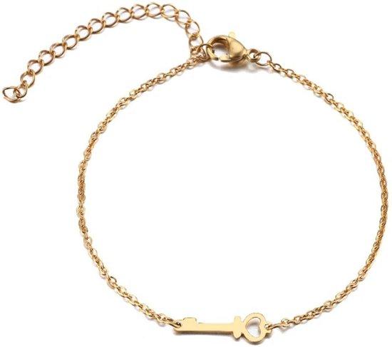 RVS hartje sleutel armband 17-20 cm | liefde | bff | goudkleur