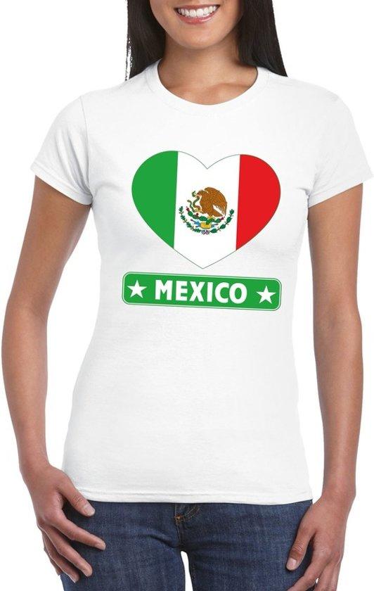 Mexico hart vlag t-shirt wit dames S