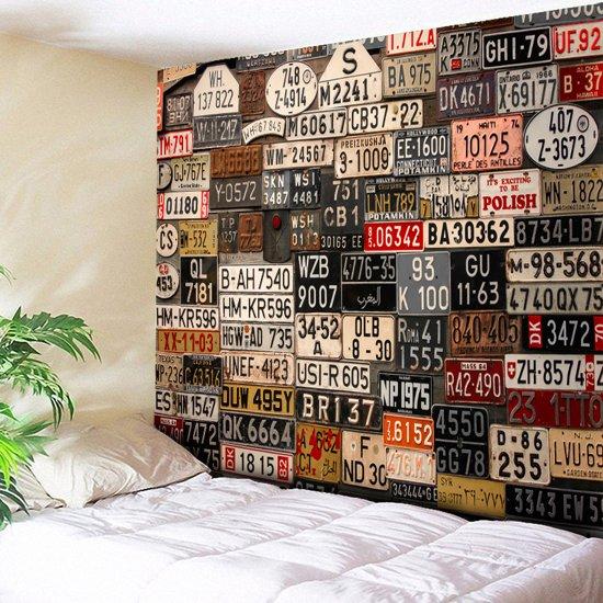 Wanddecoratie Op Doek.Bol Com Vintage Nummerplaten Wanddecoratie Doek Met Oude