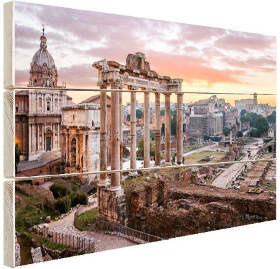 Zonsopgang Romeinse Forum Hout 60x40 cm - Foto print op Hout (Wanddecoratie)