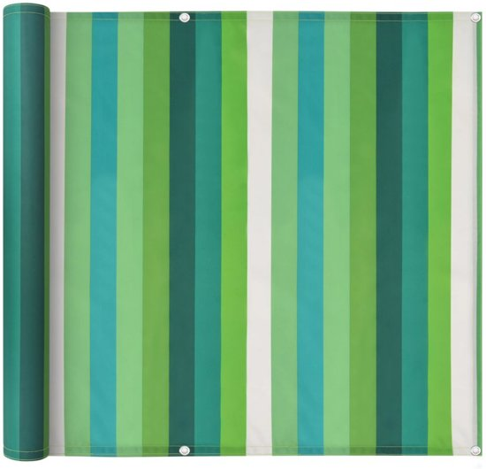 vidaXL Balkonscherm 90x400 cm oxford stof streep groen