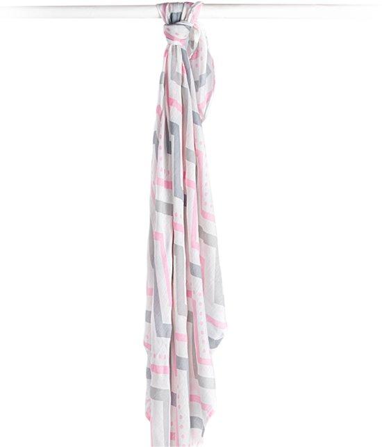 Lulujo swaddle 70% bamboo/30% katoen 120x120 cm - Pink Chevron