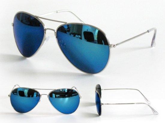 70e36ea853a087 Bellatio Aviator - Zonnebril - Zilverkleurig Blauwe spiegel glazen