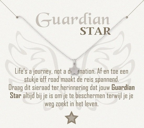 Simply Because Guardian Star! Ketting (zilver, bedel ster) 42 cm