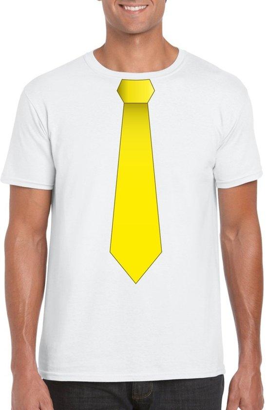 Wit t-shirt met gele stropdas heren L
