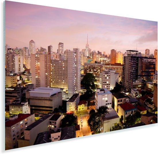 Een roze getinte schemering valt over São Paulo in Brazilië Plexiglas 120x80 cm - Foto print op Glas (Plexiglas wanddecoratie)