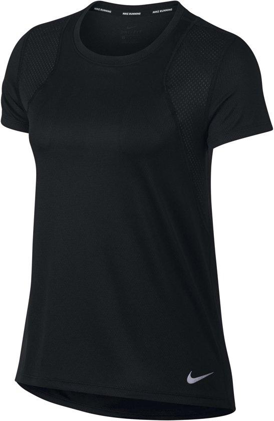 Nike Run Top Short Sleeve Sportshirt Dames - Black/Black/(Reflective Silv)