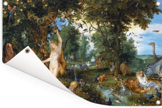 Het aardse paradijs met de zondeval van Adam en Eva - Schilderij van Jan Brueghel de Oude Tuinposter 180x120 cm - Tuindoek / Buitencanvas / Schilderijen voor buiten (tuin decoratie) XXL / Groot formaat!