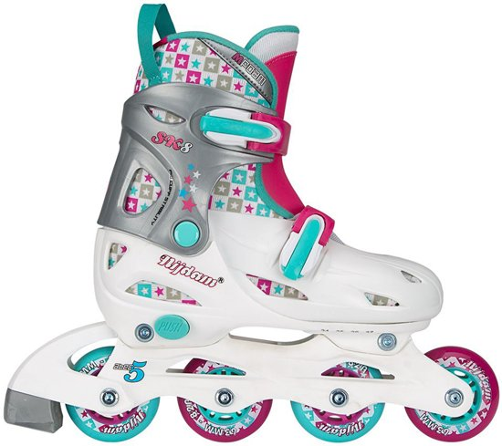 5bc8fb57b7a Nijdam Junior Inlineskates Junior Verstelbaar - Hardboot - Wit/Aqua/Fuchsia  - 34-