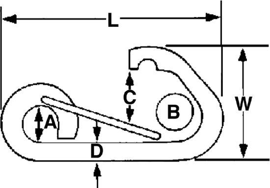 Talamex asymmetrische Karabijnhaak met oog 81mm