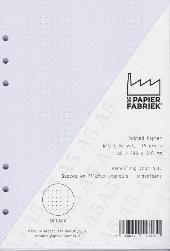 Aanvulling voor o.a. Succes, Filofax en Kalpa Agenda's /Planners 50 vel = 100 pagina's, Dotted A5 Formaat Wit 120 g/m² Papier