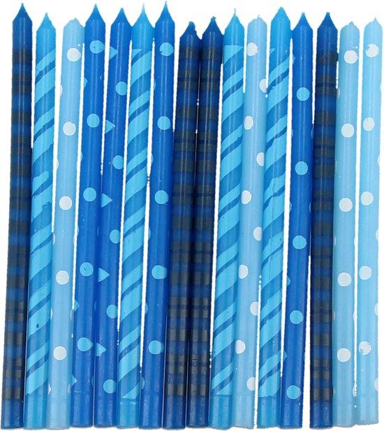 Blauwe Verjaardag Kaarsjes voor op de Taart - 16 stuks - 13x6x2 cm | Taartdecoratie Feestkaarsjes | Kaarsen Valentinaa