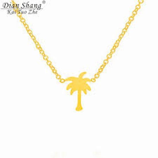 ketting palmboom tropisch goudkleurig