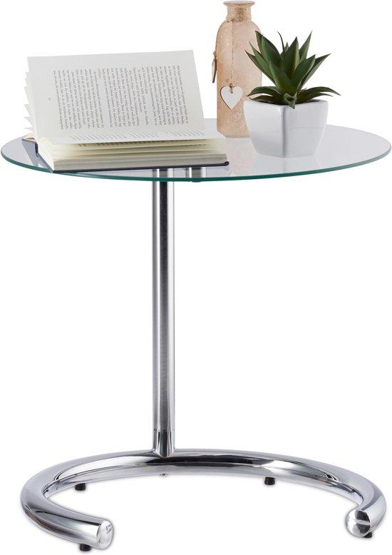 Design Bijzettafel Chroomglas.Bol Com Relaxdays Bijzettafel Hoogte Verstelbaar Koffietafel